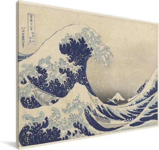 De grote golf bij Kanagawa - Schilderij van Katsushika Hokusai Canvas 140x90 cm - Foto print op Canvas schilderij (Wanddecoratie woonkamer / slaapkamer)