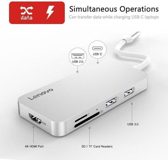 Lenovo USB-C Hub 4K HDMI, 2x USB3.0, USB-C en kaartlezer - Zilver - Lenovo