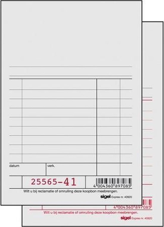 Kassablok 150x110 2x50 SI-40925