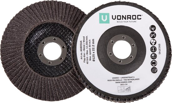 VONROC Universele Lamellenschijven set – 2-delig – K40 & K60 – Ø125 x 22.2MM