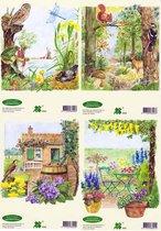 16 Tuin Taferelen - 3D Knipvel - A5 Formaat - 4 designs - Om mooie  3D kaarten of schilderijtjes te maken