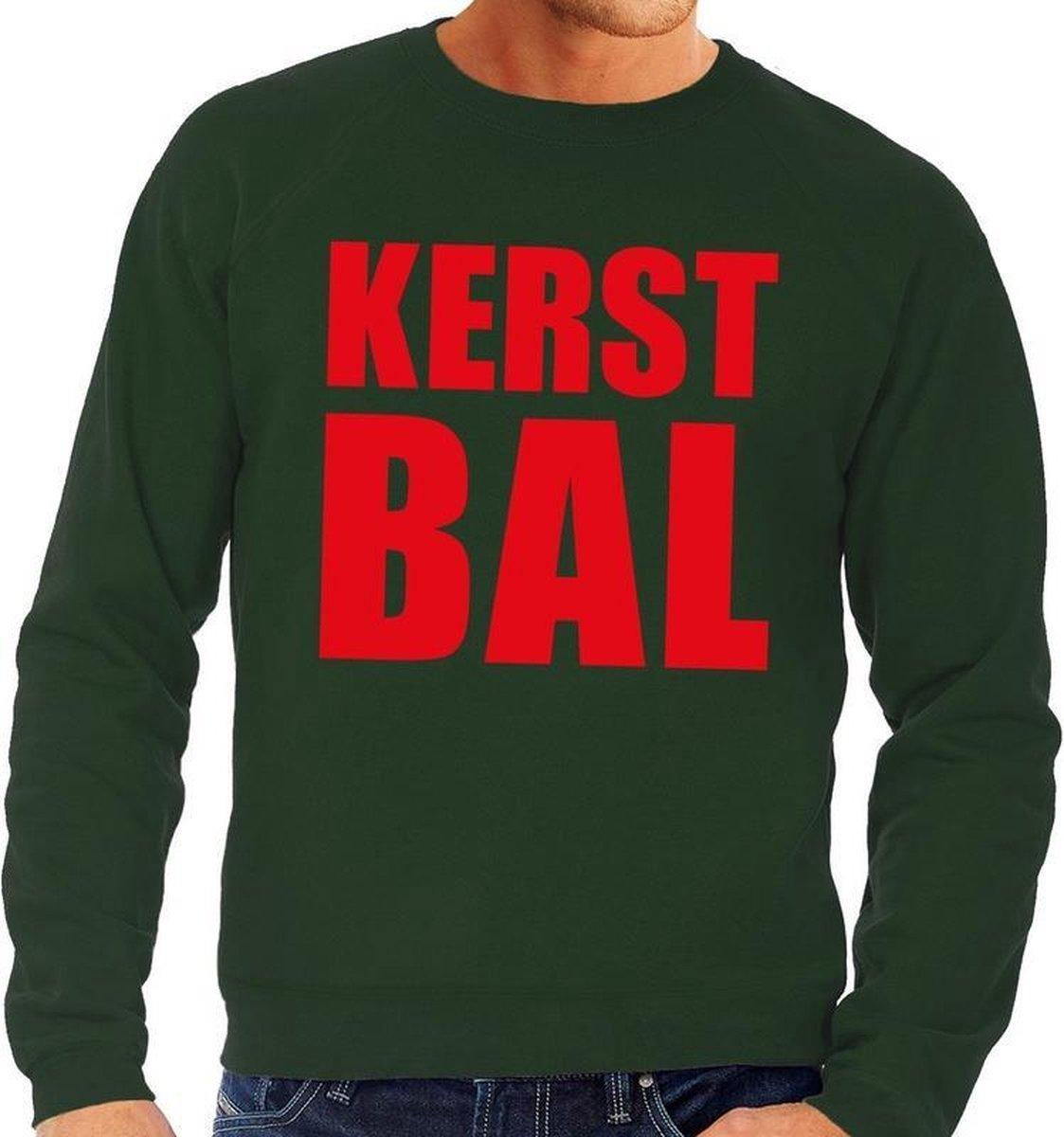 Foute kersttrui / sweater Kerst Bal groen voor heren - Kersttruien L (52) - Bellatio Decorations