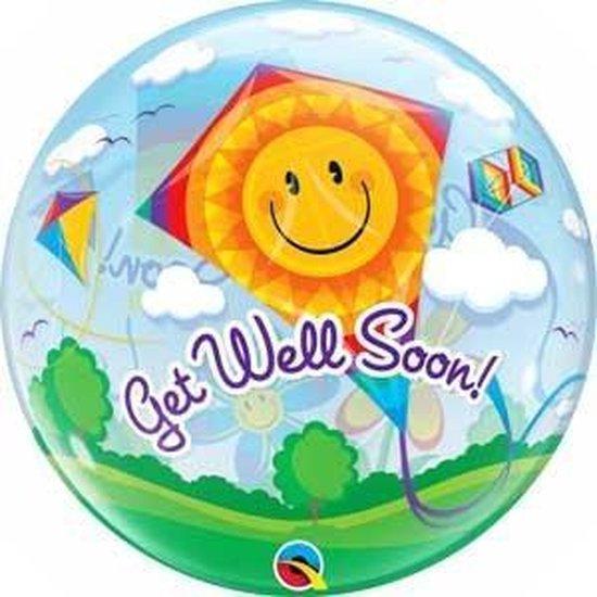 Folieballon - Get well soon! Vlieger- Bubble - 56cm - Zonder vulling