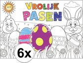 Papieren Paas kleurplaat placemats 6 stuks - Pasen