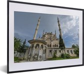 Foto in lijst - Close-up van de prachtige Sabanci Moskee fotolijst zwart met witte passe-partout klein 40x30 cm - Poster in lijst (Wanddecoratie woonkamer / slaapkamer)