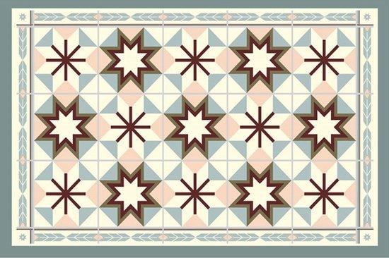 Placemats - Anti-slip - 30 x 45 cm - 4 Stuks - Granada Pink Retro Floor Tile Style - Homeplace.eu