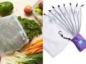 8 Groentezakken/Fruitzakken (met gratis PAARS opbergzakje) van Gerecycled Plastic | Maat L | 25x30cm | Zero Waste | Duurzaam | Herbruikbare Mesh Zakken