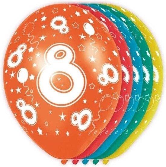 5x stuks 8 Jaar thema versiering helium ballonnen 30 cm - feestartikelen en versieringen