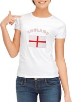 Wit dames t-shirt met vlag van Engeland L