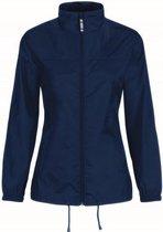 Windjas/regenjas voor dames donkerblauw maat S