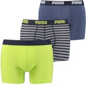 Puma Boxershort 3 boxershorts Basic Stripe Design Blue/Lime-S
