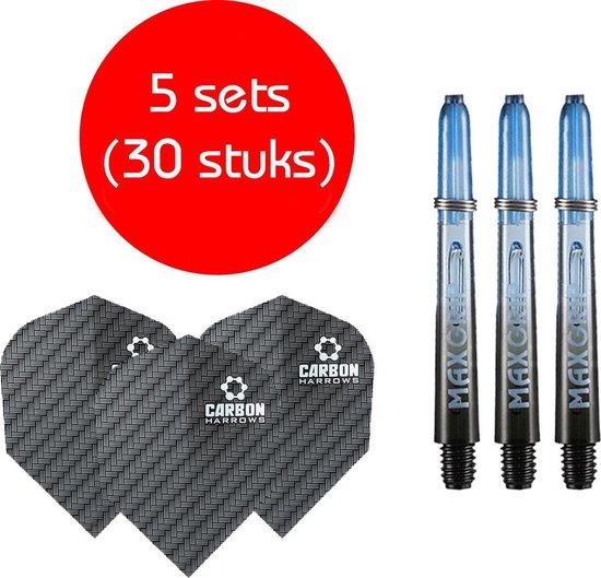 Dragon darts - Maxgrip – 5 sets - darts shafts - zwart-blauw - inbetween – en 5 sets – carbon – darts flights
