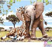 """Schilderen op nummer """"JobaStores®"""" Olifant & Giraf 40x50cm"""
