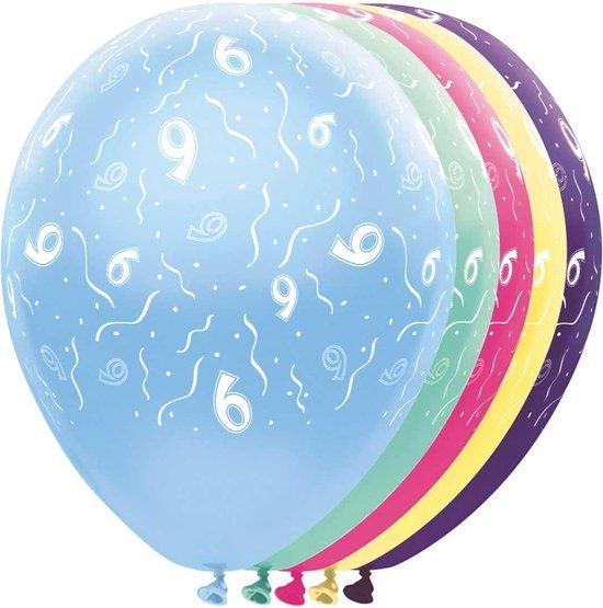Ballon 9 jaar - 5 stuks - metalic - leeftijd - feestballon