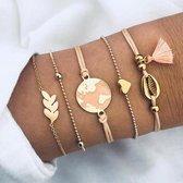 Set Armbanden World | 5 - delig | Goudkleurig | 15-18 cm