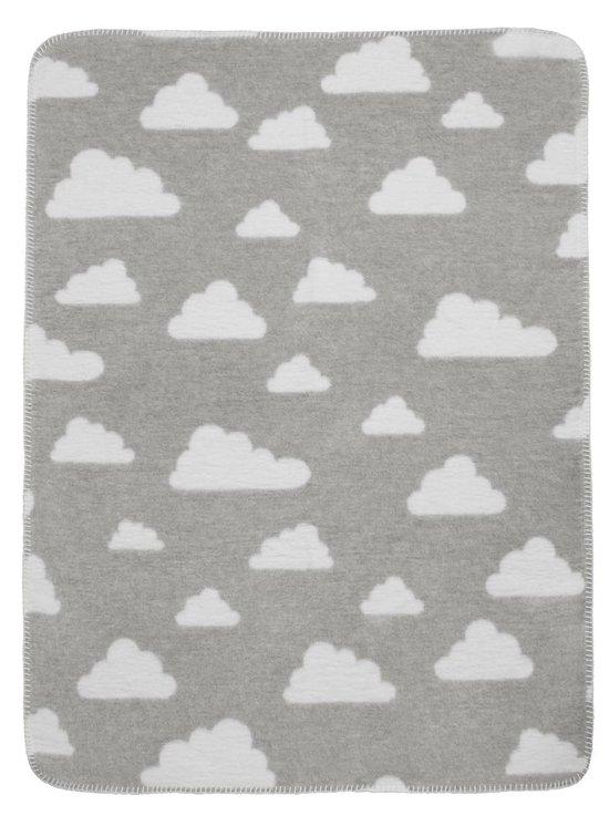 Meyco Modern Little Clouds - Wiegdekentje 75x100 cm - Grijs