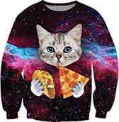 Taco en pizza kat kattentrui Maat S