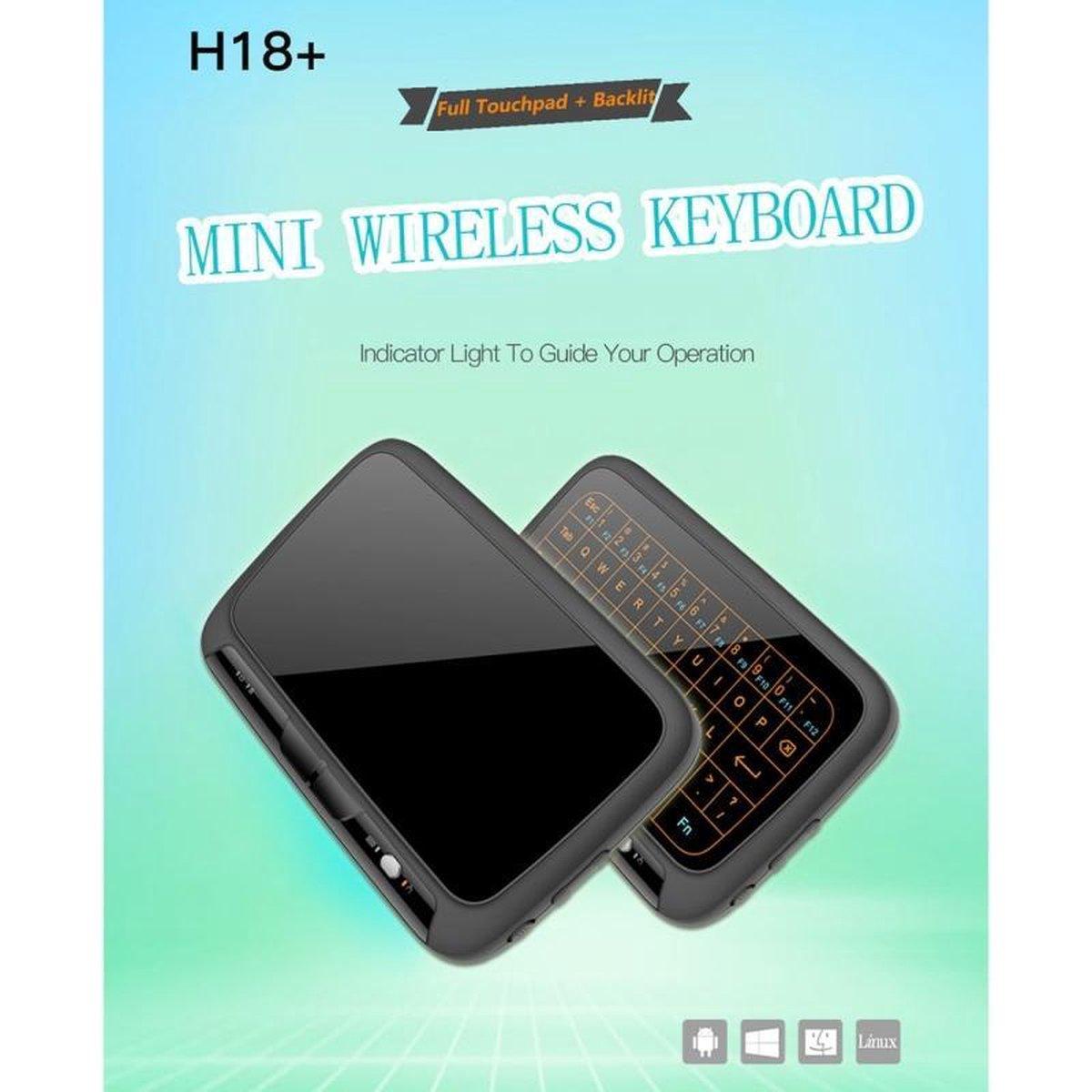H18 + 2 4 GHz Draadloos Mini toetsenbord volledige Touchpad met verstelbare Backlight(Black) 3 niveau