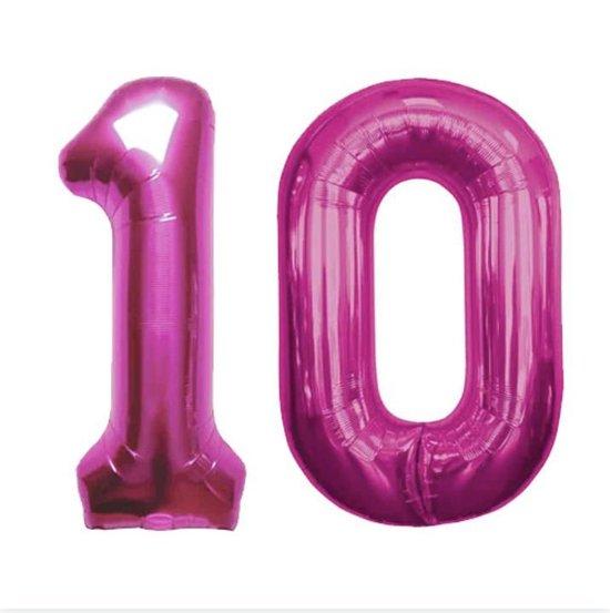 Cijfer 10 Magenta Helium 86 cm Excl. helium