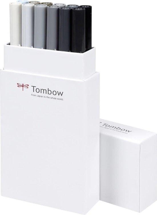 Tombow ABT dual-brush tekenpennen (set van 12) - grijze kleuren. Tijdelijk: 3 Tombow MONO tekenpennen cadeau