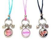 Jewellicious Designs Foto sieraad ketting I Love You - zilver - hartjes - aqua, roze & zwart assorti - 80 cm