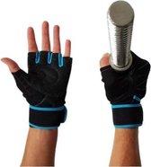 AWEMOZ® Fitness Handschoenen - Sport Handschoenen - Fitness - Zwart/Blauw - Maat L