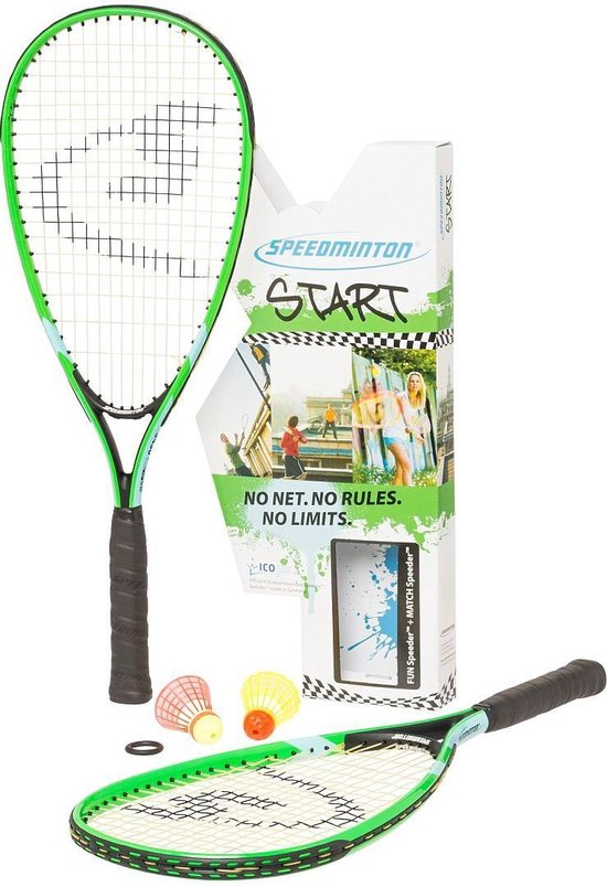 Speedminton START set - groen/blauw - crossminton - speedbadminton