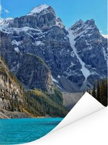 Bergen achter Moraine Lake in Canada Poster 120x160 cm - Foto print op Poster (wanddecoratie woonkamer / slaapkamer) XXL / Groot formaat!