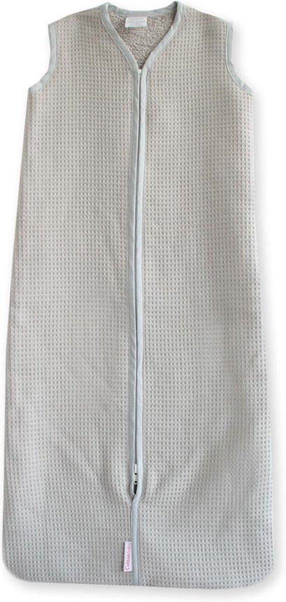 Cottonbaby Slaapzak 80 cm. wafel/badstof - lichtgrijs - Cottonbaby