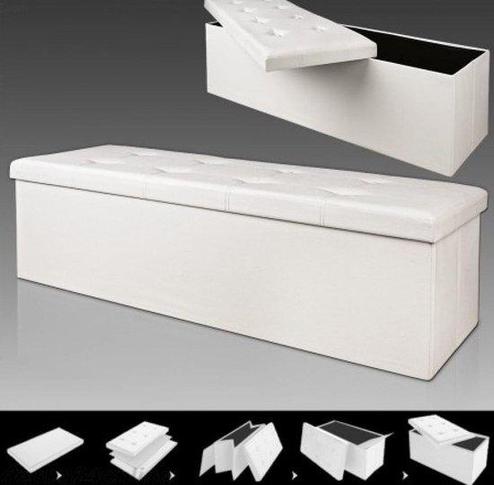Zitbank - 114 cm - met - opslagruimte - in - Wit