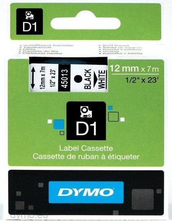 Dymo D1 labeltape - 45013 - 12 mm x 7 m - Zwart/wit - DYMO