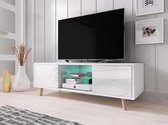 TV Meubel Hoogglans Wit - Scandinavisch Design - Inclusief Led verlichting