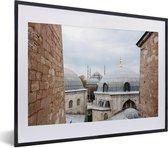 Foto in lijst - Koepels van Hagia Sophia Turkije fotolijst zwart met witte passe-partout klein 40x30 cm - Poster in lijst (Wanddecoratie woonkamer / slaapkamer)