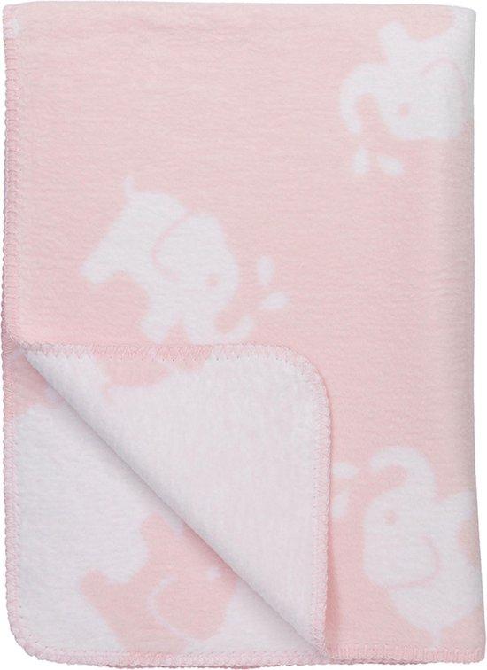 Meyco Elephant bio wiegdeken - 75 x 100 cm - roze/wit