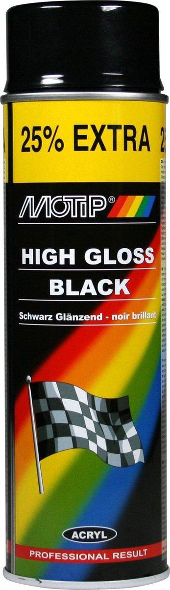 Motip Hoogglans Acryllak Zwart - 500 ml