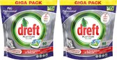 2x Dreft vaatwastabletten All in One Platinum, pak a 90 tabletten