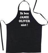 Mijncadeautje Schort  - Ik ben Jamie Oliver niet - mooie - grappige - leuke keukenschort - zwart