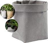 QUVIO Plantenzak uitwasbaar / Bloempot duurzaam / Plantenbak / Kraftpapier / Milieuvriendelijk / 9x9x15cm - Grijs