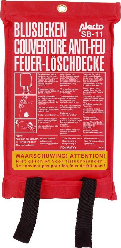 Alecto SB-11 Blusdeken 1x1m - Voor het doven van (brandende kleding van) een persoon - Rood