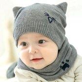 Lief babymutsje met col - Muts baby set - Kraamcadeau - Mutsje grijs Beanie Newborn Sjaal