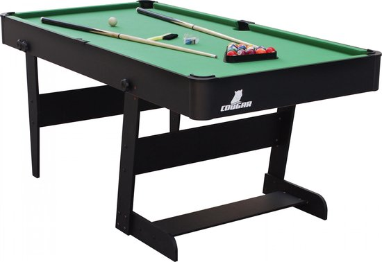 Cougar Hustle XL opklapbare Pooltafel Zwart - 6ft. biljarttafel - Incl. accessoires