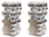 32x Zilveren kunststof kerstballen 4 cm - Mat/glans - Onbreekbare plastic kerstballen - Kerstboomversiering zilver