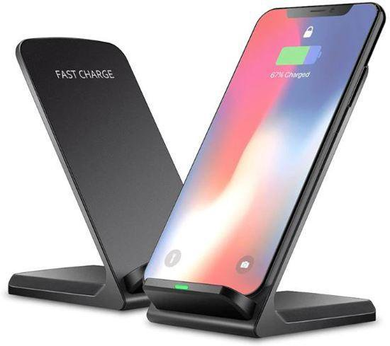 Draadloze QI Charger Stand - Wireless Charger - Mobiele Telefoon Lader - 10W Output - Zwart