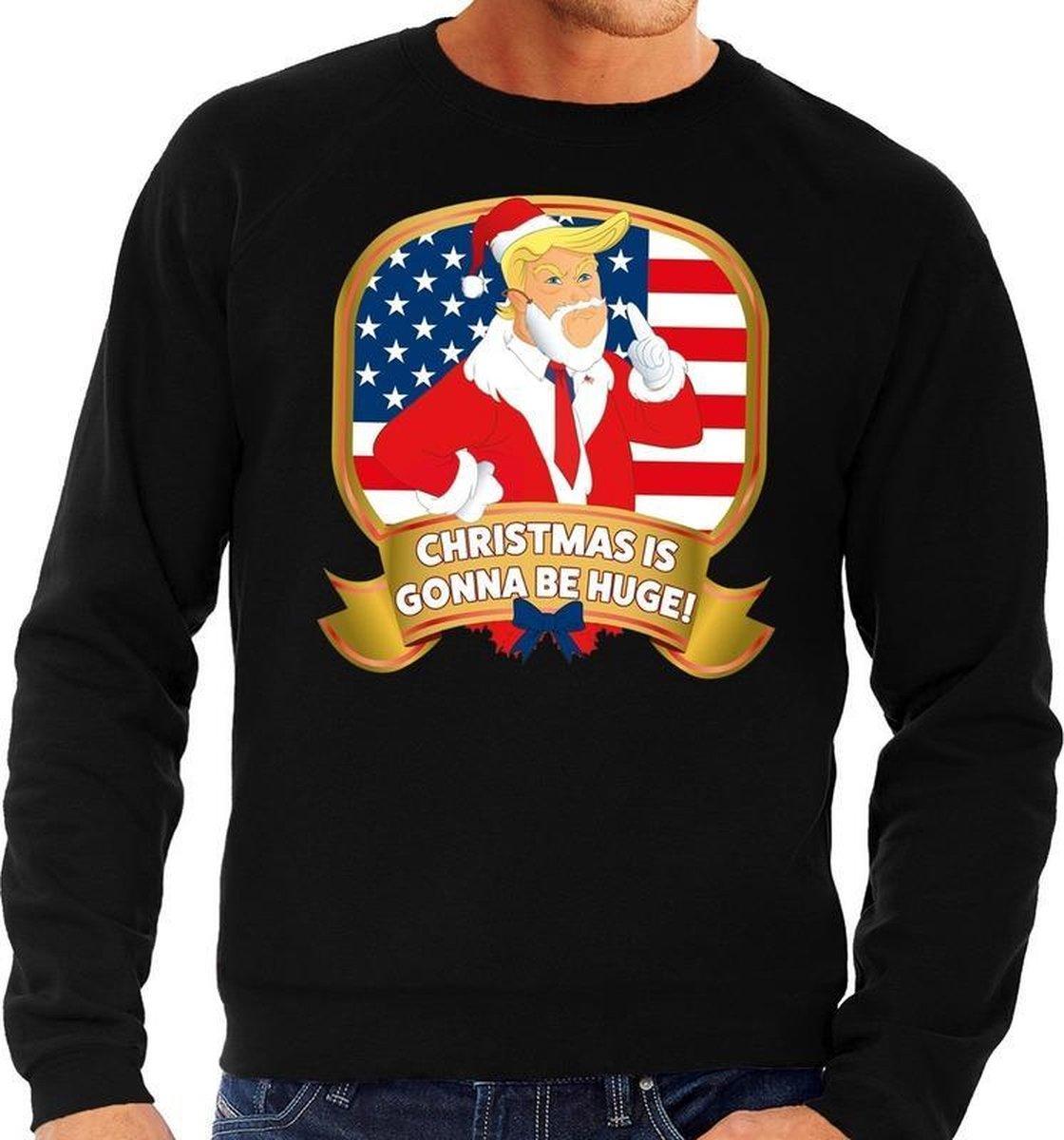 Foute kersttrui / sweater - zwart - Trump Christmas is gonna be Huge heren L (52) - Bellatio Decorations