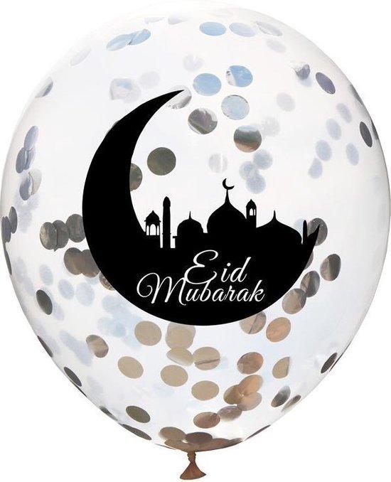 Eid Mubarak Ballonen - Ramadan - Offerfeest - Suikerfeest Versiering - Decoratie - Zilver - 5 stuks