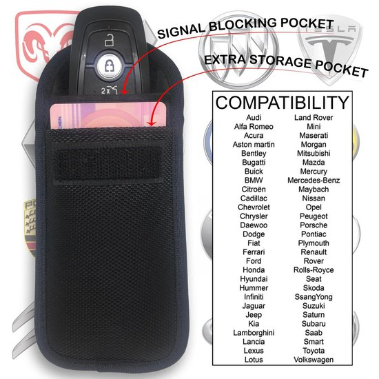 Arclit® | 2x Autosleutel RFID Anti-Diefstal Beschermhoes + 2x RFID kaarthouders | 2Pack | Keyless Entry Beveiliging Hoesje | Signaal Blokkerende Beschermhoes | Voordeelverpakking
