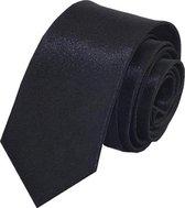 Fako Fashion® - Skinny Stropdas - Effen - 145cm - Zwart