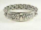 Zware gevlochten zilveren armband met kliksluiting - pols 17.5 cm