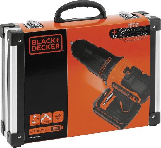 BLACK+DECKER BDCHD18BAFC-QW Accu Klopboormachine - 18V - 2 accu's - incl. 80 accessoires