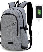 Rugzak - Laptoptas inclusief USB Oplaadstation - Schooltas - Werktas - Grijs - Kono (E6715 GY)